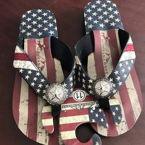American Flag Flip Flops by Montana West Size 11